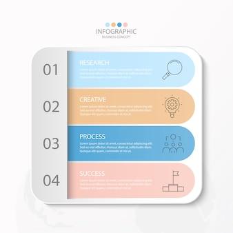 細い線のアイコンとインフォグラフィック、フローチャート、プレゼンテーションのための4つのオプションまたはステップを備えたインフォグラフィックデザイン。