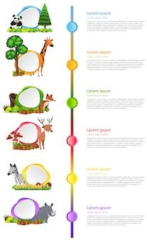 야생 동물 및 레이블 infographic 디자인
