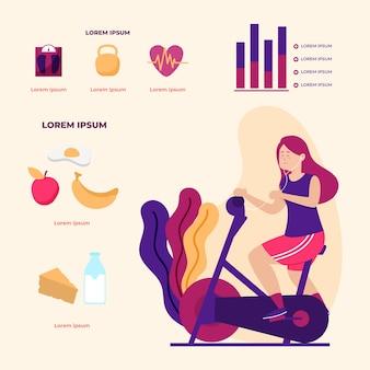 피트 니스 자전거에 infographic 디자인 여자