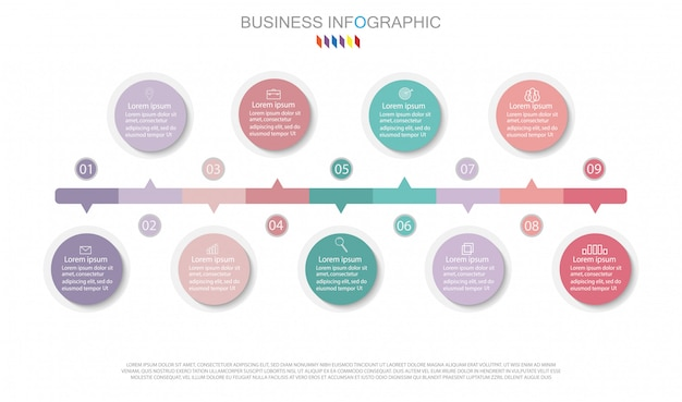 Infographic diagram design business concept with 9 options.