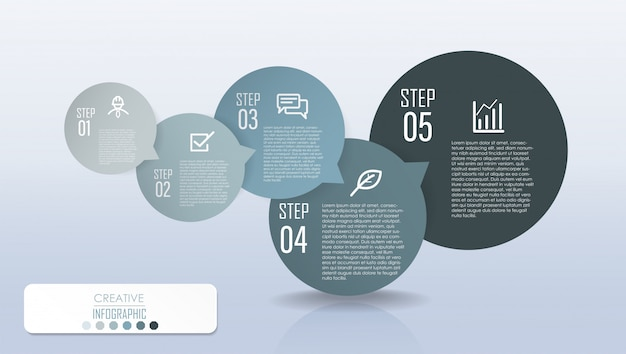 Infographic diagram design with step process flowchart