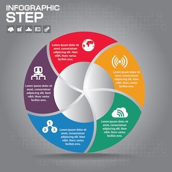 インフォグラフィック図のステップテンプレート