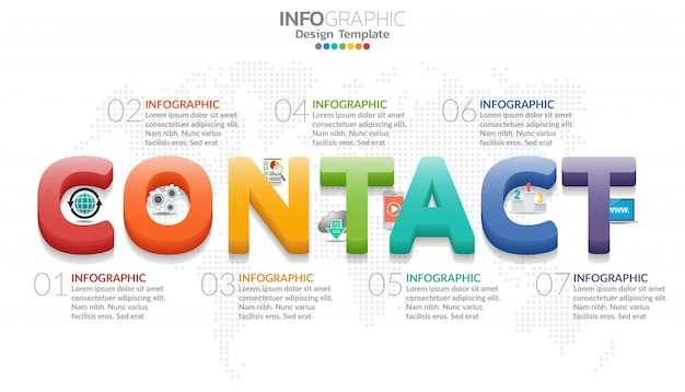 Infographic diagram with word concact