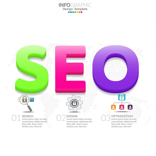 Infographic diagram with word seo. marketing concept.
