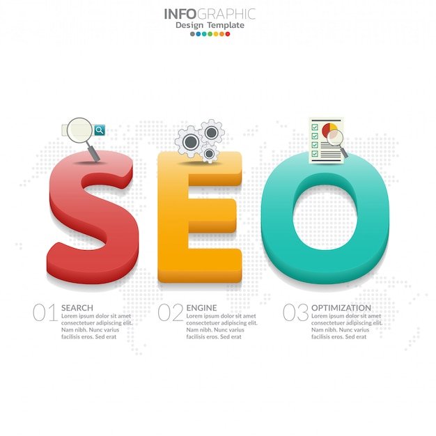 Infographic diagram with word seo
