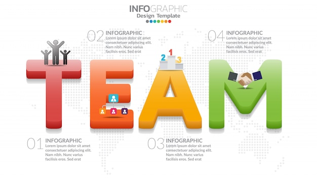 Infographic diagram with word team