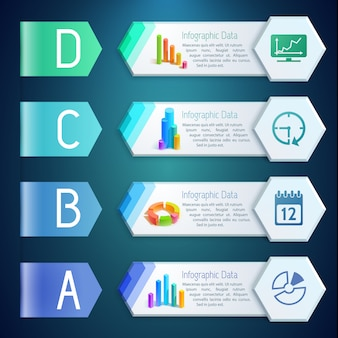 Infographic digital banners with text diagrams graphs charts icons on hexagons four options illustration