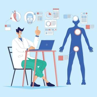 インフォグラフィックの医者は人体を説明します
