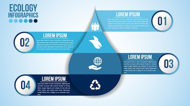Infographic eco water blue design elements process steps or options parts with drop of water