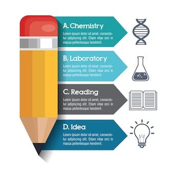 インフォグラフィック教育と鉛筆