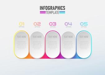 インフォグラフィック要素3 dサークルオプション1から5ベクトル。