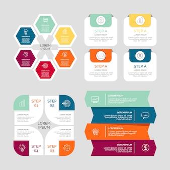 インフォグラフィック要素のコレクションデザイン