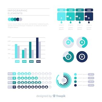 Сбор инфографических элементов в зеленых тонах