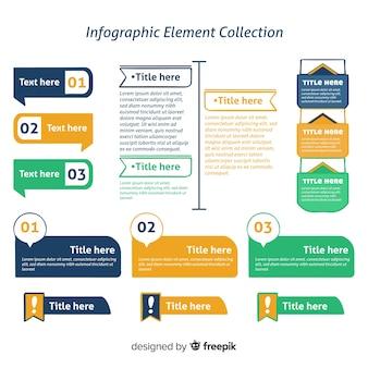 세 가지 색상의 infographic 요소 컬렉션