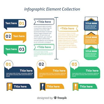 Infographic element collection in three colors