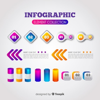 Infographic element collection with gradient style