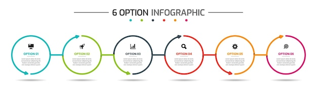 Infographic element design templates with icons and 6 options