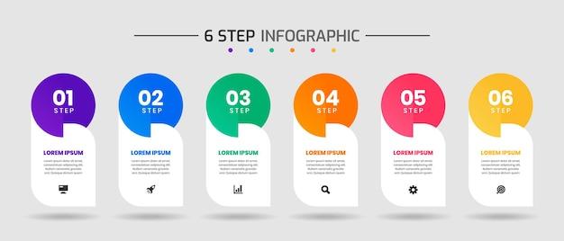 Шаблоны дизайна инфографических элементов с иконками и 6 этапами, подходящими для схемы процесса