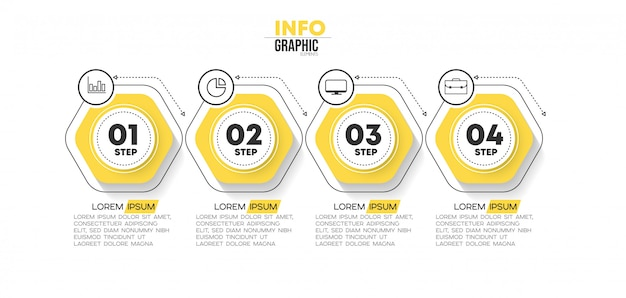 Infographic element with icons and 4 options or steps.