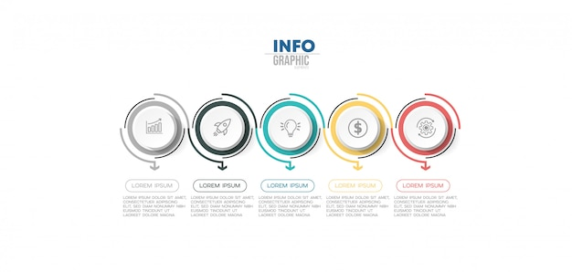 Infographic element with icons and 5 options or steps.
