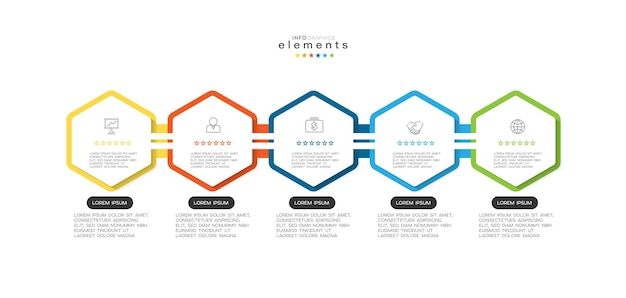 Infographic element with icons and 5 options or steps