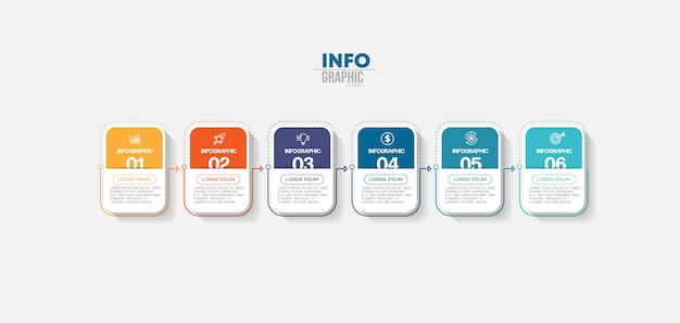 Infographic element with icons and 6 options or steps. can be used for process, presentation, diagram, workflow layout, info graph, web design.