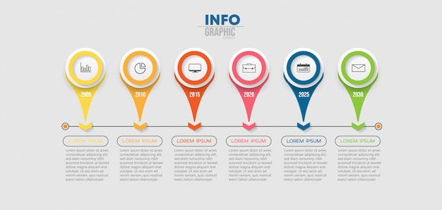 Infographic element with icons and 6 options or steps