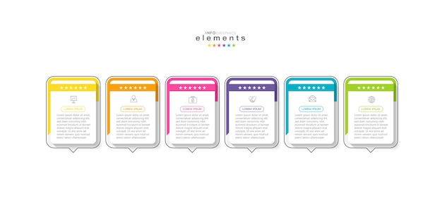 Infographic element with icons and 6 options or steps.