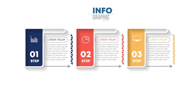 アイコンと3つのオプションまたは手順を持つインフォグラフィック要素