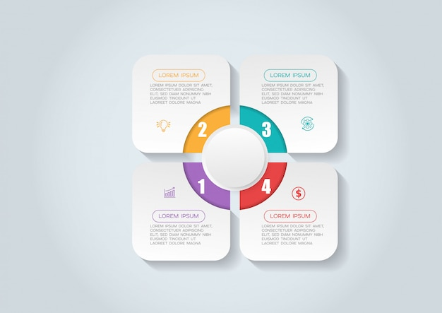 아이콘 및 4 옵션 또는 단계 infographic 요소