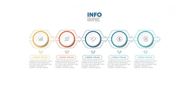 Инфографики элемент с иконками и 5 вариантов или шагов