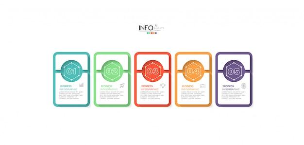アイコンと5つのオプションまたは手順のインフォグラフィック要素