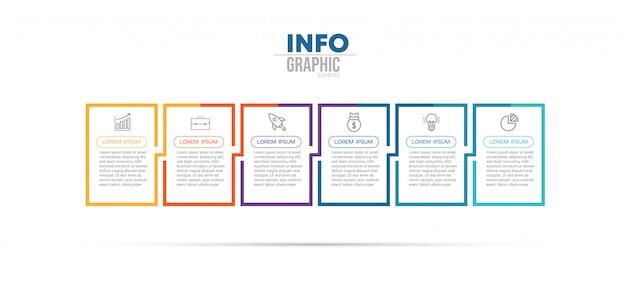 Инфографики элемент с иконками и 6 вариантов или шагов
