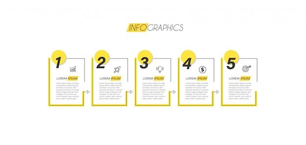 Инфографики элемент с иконками и пять вариантов или шагов. может использоваться для процесса, презентации, диаграммы, макета рабочего процесса, информационного графика, веб-дизайна.