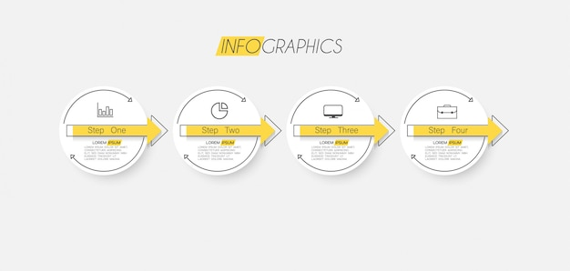 Infographic element with icons and options or steps.