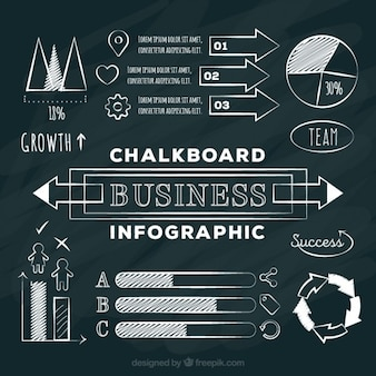 Infographic elements for business in chalckboard style