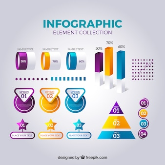 Infographic elements collection in realistic style