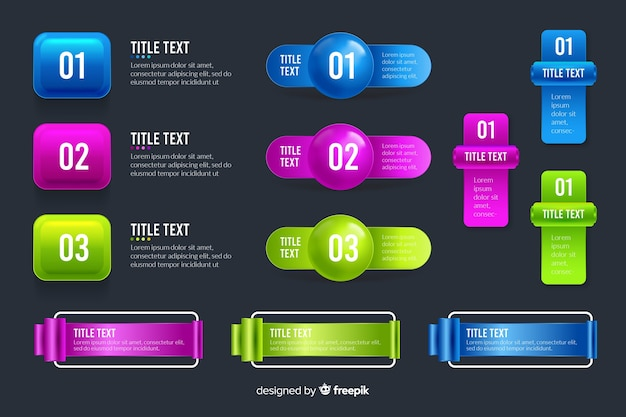 Infographic elements collection in realistic glossy style
