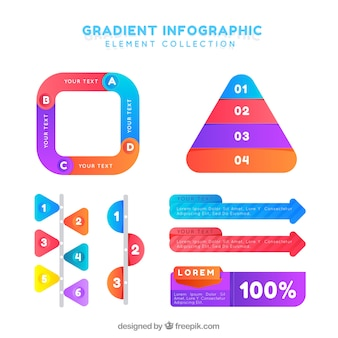 Infographic elements collection with gradient colors