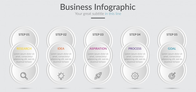 Infographic elements for content with icons and options or steps.