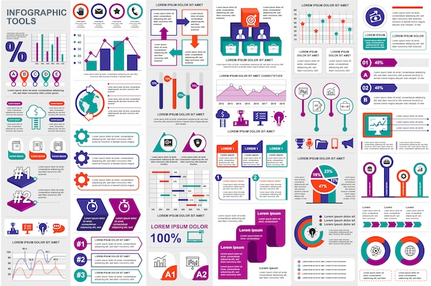 Infographic elements data visualization vector design template