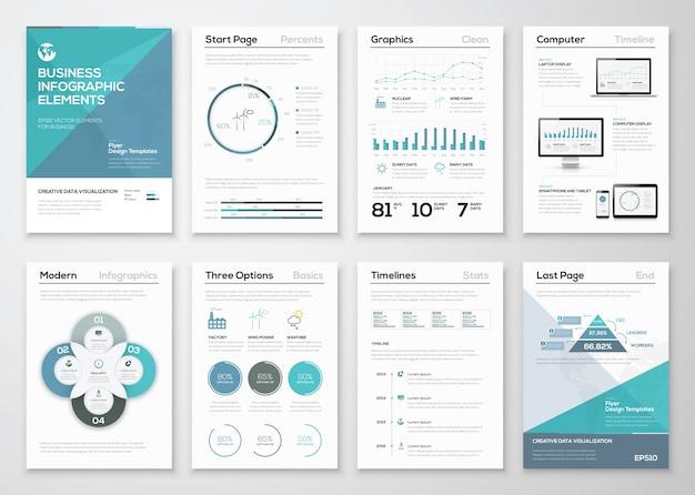 ビジネスパンフレットおよびプレゼンテーション用のインフォグラフィックエレメント