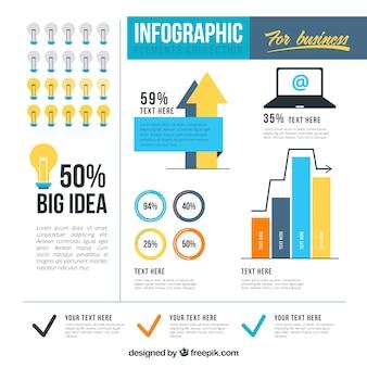 黄色と青の色のビジネスのためのインフォグラフィック要素