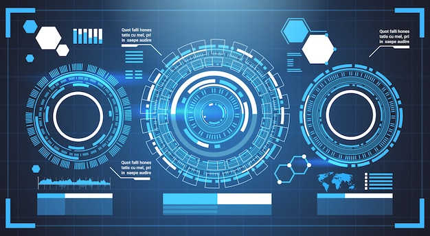Infographic elements futuristic template banner with copy space tech abstract background charts