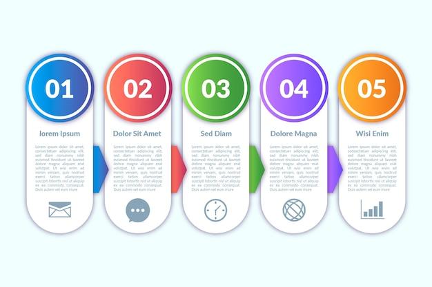 インフォグラフィック要素のグラデーションデザイン