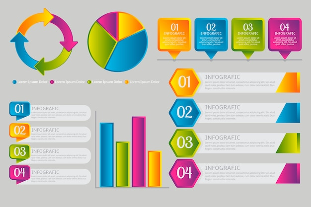 Infographic elements in gradient style