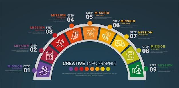 インフォグラフィック要素半円デザイン