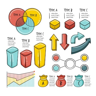 Infographic elements in hand drawn