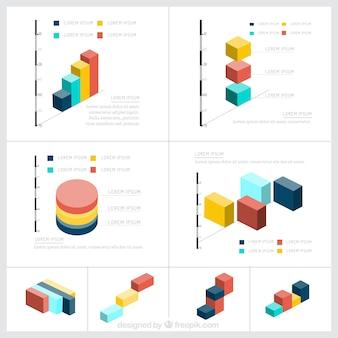 アイソメトリックのインフォグラフィック要素