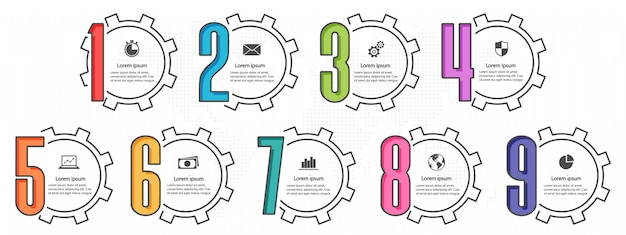 Infographic elements template with number 9 options. gear style.